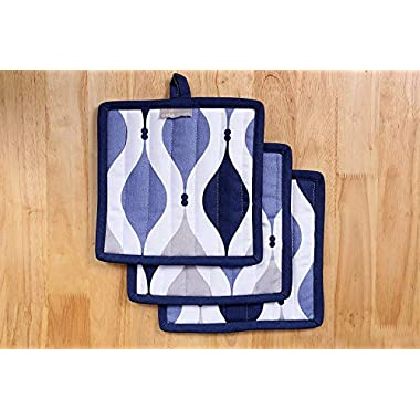 Pot Holders, Unique Geometric Blue Design, Pot Holders Heat Resistant, Made of 100% Cotton, Set of 3, Pot Holder size 8 x 8 inches, Pot Holders for Kitchen By CASA DECORS