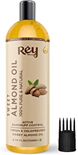 Rey Naturals 100% Pure & Natural Sweet Almond oil - Virgin & Cold pressed - for hair & skin - 200 ml
