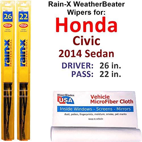 Rain-X WeatherBeater Wiper Blades for 2014 Honda Civic Sedan Set Rain-X WeatherBeater Conventional Blades Wipers Set Bundled with MicroFiber Interior Car Cloth