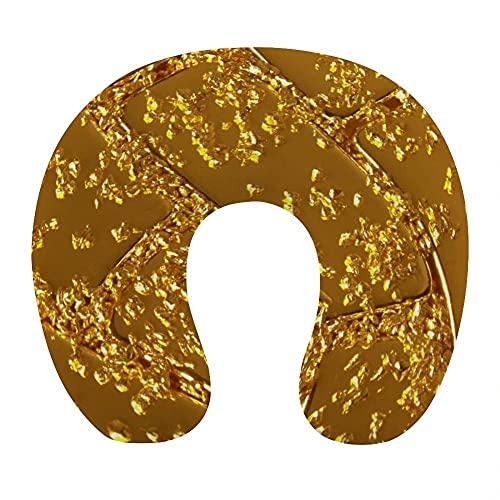 Almohada Viaje Cuello 30*29*10 cm 100% Fibra de Poliéster Ultrafina Almohada Viaje Cervical Transpirable con Funda con Cremallera Cojin Cervical Viscoelástica de Espuma,Hojas Amarillas