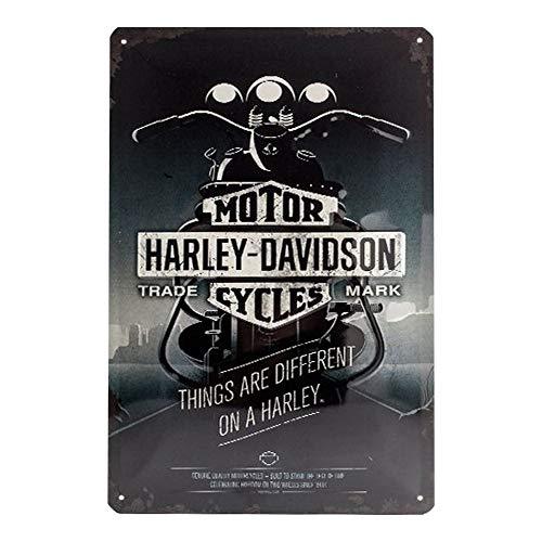 Nostalgic Art Harley Davidson Things Are Different - Placa decorativa, metal, 20 x 30 cm, color gris