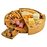 Picnic at Ascot CB40 Patented Bamboo Cheese/Charcuterie Board with Knife Set - Stores as a Compact Wedge - Opens to 18' Diameter-Designed & Quality Checked in USA,