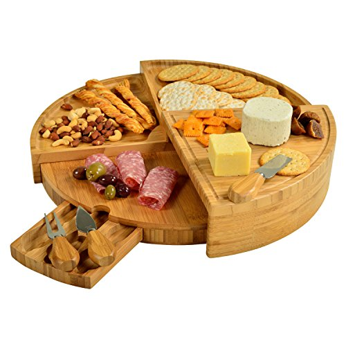 Picnic at Ascot Patented Bamboo Cheese/Charcuterie Board with Knife Set-Stores as a Compact Wedge-Opens to 18' Diameter-Designed & Quality Checked in USA