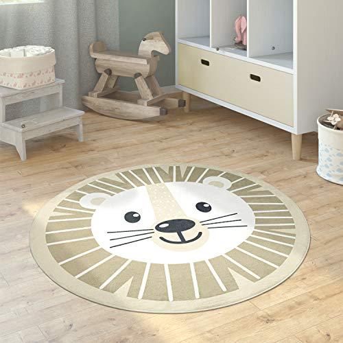 Paco Home Alfombra Infantil Cuarto Redonda Moderna Chicas Chicos Luna Koala Cabeza León, tamaño:Ø 120 cm Redon, Color:Beisbolario