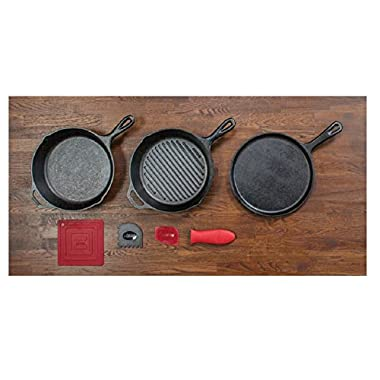 Lodge 6 Piece Seasoned Cast Iron Cookware and Accessories Set (Grill Pan Set) - Complete with Grill Pan, Skillet, Griddle, Pot Holder, Hot Handle Holder, and Pan Scrapers (Made in USA)