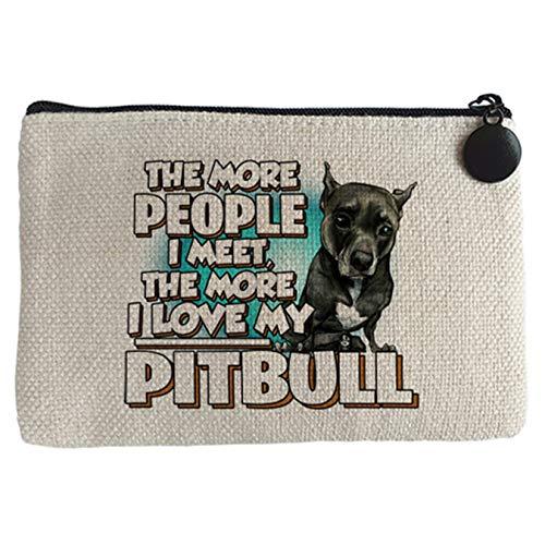 Diver Bebé Monedero I love my Pitbull negro raza perro - Beige, 15 x 10 cm
