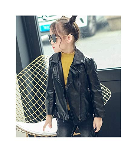 Chaqueta cálida y cómoda fácilmente. Niños PU Jacket Girl Fashion Cuero 2-7 años de edad Papa de la solapa Chaqueta de cuero de la motocicleta Primavera Otoño ( Color : Black , Kid Size : 4T )