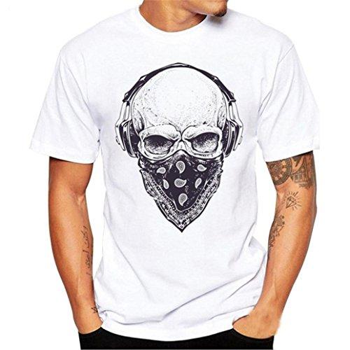 Preisvergleich Produktbild T-Shirts, Honestyi 2018 Frühling Sommer Herren T-Shirt Totenkopf Kapitän Captain Skull Bard Hipster Original Spirit Seemann Slim Fit Baumwolle Top Bluse Sweatshirts, Oversize S-XXXXL (XXXXL,  Weiß)