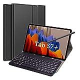 Zanfee Tastaturhülle für Samsung Tab S7+/Tab S7 Plus 12,5 Zoll, magnetisch abnehmbare Bluetooth-Tastatur mit Schutzhülle für Samsung Galaxy Tab S7 Plus 2020 (SM-T970/T975/T976), Schwarz