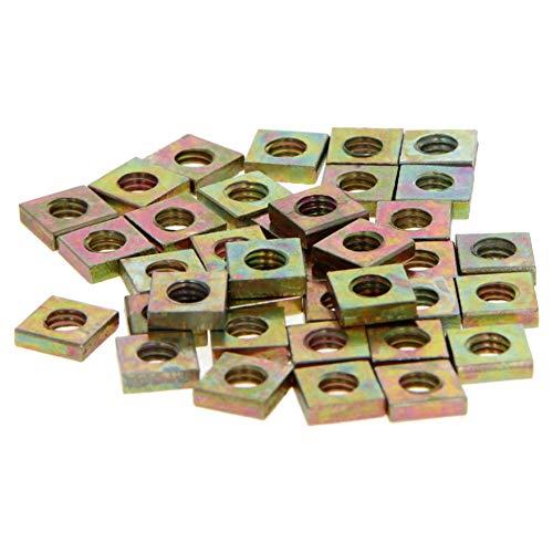 MroMax Square Nuts M4x7mmx2mm Yellow Zinc Plated Metric Coarse Thread Assortment Kit Yellow zinc 50Pcs