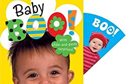 Title: Baby Boo! A small childs head is peeking on the front of the book with the title in bold overhead. A pull out section is showing with another baby and text of Boo!