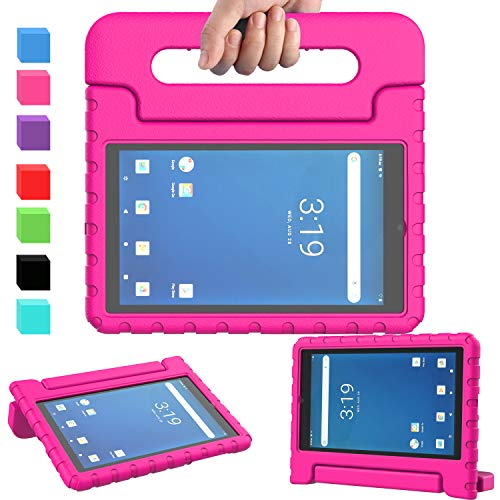 "AVAWO Onn 7 inch Tablet Case, Surf Onn 7"" 2019 & 2020 Kids Case, Light Weight Shock Proof Convertible Handle Stand Kids Friendly Case for Walmart Onn 7inch Android Tablet (2019 & 2020 Release), Rose"