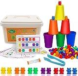 0BEST Contando Osos Colores coordinados Clasificación Tazas Montessori y contando Juguetes educativos (Juego de 73) Caja de Almacenamiento de 60 Osos y 6 Tazas