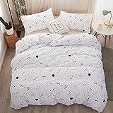 LAMEJOR Duvet Cover Set Queen Size Galaxy Planet/Star Pattern Luxury Soft Bedding Set Comforter Cover (1 Duvet Cover+2 Pillowcases) White