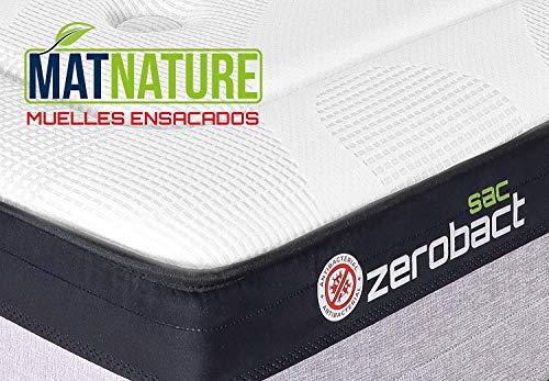 Matnature   Colchón Antibacterial Modelo Zerobact Sac   Altura 30 cm   Colchón Viscoelástico   Colchón Muelle Ensacado   Gran Confort   Todas Las Medidas (105 x 190 cm)