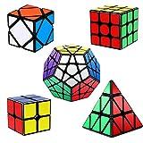 Vdealen Cubos de Velocidad, Speed Cube Set de 2x2 3x3 Pirámide Megaminx Skew Cube Smooth Pegatinas, Cubo Mágico Liso Colección de Rompecabezas [Paquete de 5]