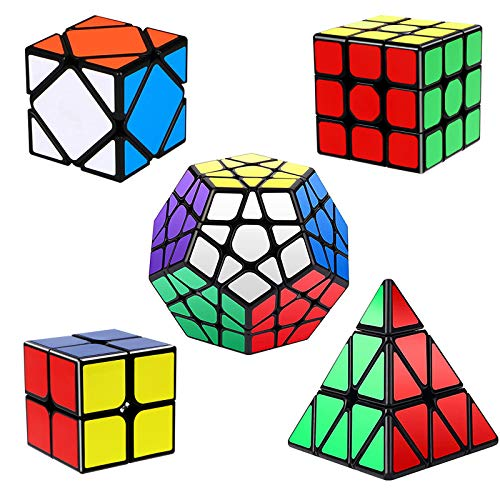 Vdealen Speed Cube Set, Puzzle Cube Bundle 2x2 3x3 Pyramid Megaminx Skewb Magic Cube Set, Smooth Sticker Cubes Games Toy Gifts for All Age Kids- 5 Pack