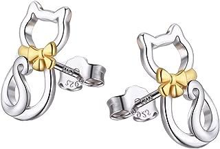 YFN Cat Stud Earring 925 Sterling Silver Cubic Zirconial Cat Stud Earrings Jewelry for Girl Women