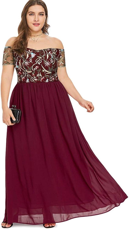 SKBOOS Size Embroidery Off The Shoulder Maxi Dress Women Elastic Waist Short Sleeve Dress Long-line Slash Neck Long Dress