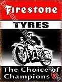 RKO Firestone Neumáticos The Elige Entre Champions Coche & Moto Garaje Vintage Metal/Cartel de Acero para Pared - 15 x 20 cm