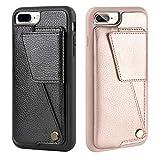 ZVEdeng iPhone 8 Plus 7 Plus Wallet Case with Credit Card Holder Slot Money Pocket Shockproof PU Leather Case Rotational Magnetic Flip Case Cover Slim