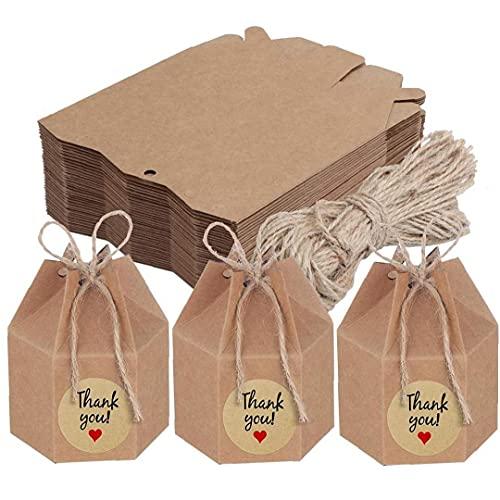 SouiWuzi Caja de Candy Craft Hexagon Sweet Wedding Favor Favor de Cajas de Embalaje para Decoraciones de Bodas 50pcs, para Almacenamiento de Dulces