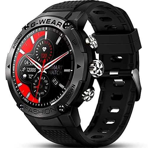 GaWear Reloj Inteligente Hombre,smartwatch 1.32' Pantalla Táctil Completo Reloj Inteligente Impermeable 5ATM Pulsómetro, Monitor de Sueño, Notificaciones Inteligentes, para Android iOS(Negro)