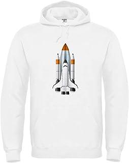 Druckerlebnis24 Sudadera con capucha – Cohete Spaceshuttle Vehículo espacial – con capucha unisex para niños – Niño y niña