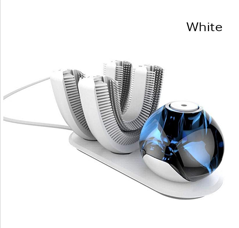 逆説無臭クラフト自動歯ブラシ、電動歯ブラシワイヤレス充電式360度自動歯ブラシ、怠惰用(ホワイト)