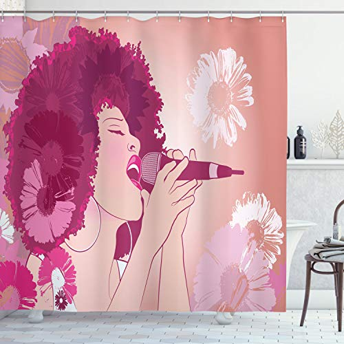 """Ambesonne Music Shower Curtain, Afro Woman Singing Jazz Songs on Exotic Floral Background Performance Art, Cloth Fabric Bathroom Decor Set with Hooks, 70"""" Long, Magenta Peach"""