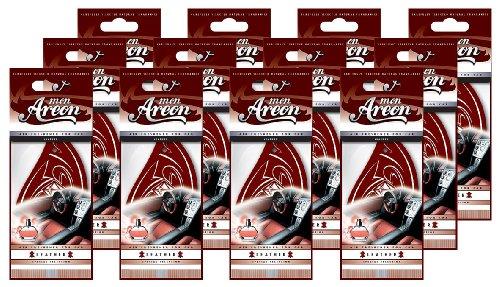 Areon Mon Ambientador Coche Cuero Colgante Colgar Olor Perfume Original Marrón Cartón Retrovisor 2D ( Leather Pack de 12 )