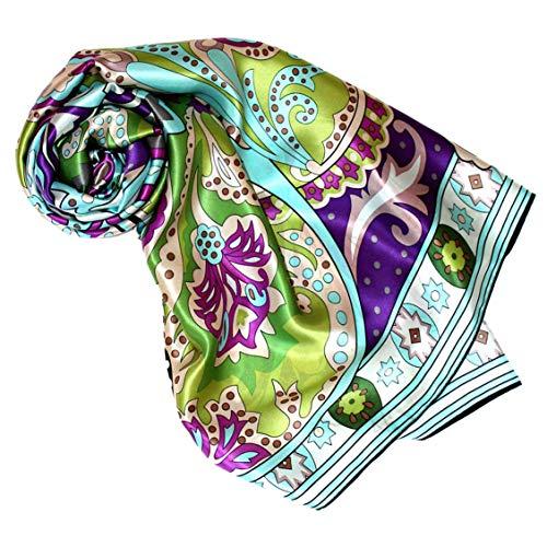 Lorenzo Cana - Luxustuch Seidentuch Tuch XL Satin Seidensatin Schal 110 x 110 cm reine Seide aufwändig mehrfarbig bedruckt bunt 8904477