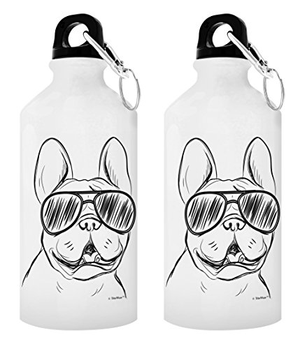 Dog Lover Gifts French Bulldog Sunglasses Gift 2-Pack Aluminum Water Bottles with Cap & Sport Top White