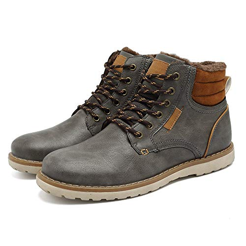 Quicksilk EYUSHIJIA Men's Waterproof Snow Boots Hiking Boot (12.5 D(M) US, Dark Gray-Fur Lining)