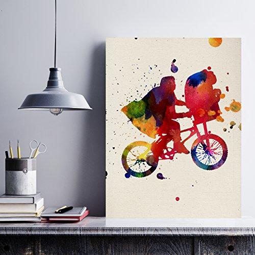 Nacnic Lámina para enmarcar ET Estilo Acuarela. Poster con imágenes de peliculas Impresas a Estilo Acuarela. Lámina ET. Decoración de hogar. Láminas para enmarcar. Papel 250 Gramos