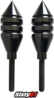 Sixty61 Spiked Black Frame Sliders for GSXR 600 750 1000, Includes Mounting Kit, Suzuki GSXR600 GSXR750 GSXR1000