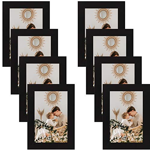 Golden State Art, Decorative Frame with Easel Stand, Back Hangers, Flexible Back Tabs - Lightweight, Thin Profile, Acrylic Glass - Multi-Pack, Collage, Collection (4x6, Black, 8-Pack)