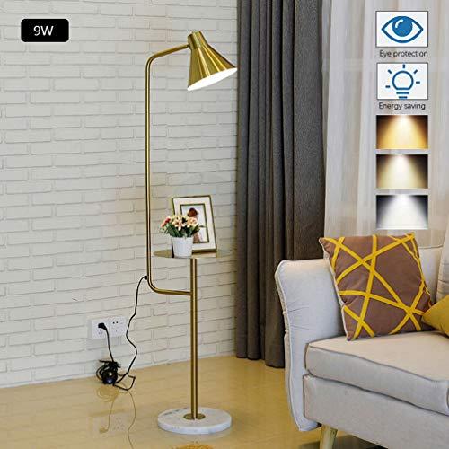 ACHNC LED Stehleuchte Wohnzimmer Dimmbar,9W Gold Modern Stehlampe Mit Ablage, Leselampe Schlafzimmer E27 Bürolampe Metall Standleuchte Für Studie Büro Sofa,180 ° Drehbarer Lampenschirm