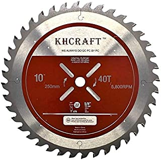 KHCRAFT Laser-Cut Miter Saw Blade Table Saw Blade 10 Inch 40 Teeth ATB Thin Kerf 5/8 Inch Arbor General Purpose Precision Finishing for Woodworking