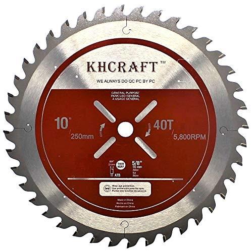 KHCRAFT Laser-Cut Circular Saw Blade Miter Saw Blade Table Saw Blade 10 Inch 40 Teeth ATB Thin Kerf...