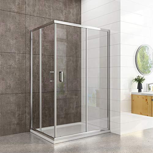 WELMAX Eckeinstieg Duschkabine 90 x 120 x 195 cm Duschabtrennung 6mm Nano Beschichtung Sicherheitsglas Doppel Schiebetür Duschtür Duschwand