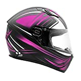 Typhoon Adult Full Face Motorcycle Helmet w/drop down sun shield DOT Certified - SAME DAY SHIPPING (Matte Pink, Large)