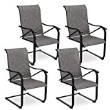 PHI VILLA C Spring Patio Sling Chairs, High Back Outdoor Metal Armchair Set for Porch, Balcony, Deck and Indoor - 4 PCS