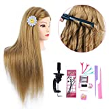 26 Inch Makeup Mannequin Head Long Straight Hair Dresser & Practice Long Training Head Brown Synthetic Hair with 50% Real Hair Braiding Manikin Head Doll Cosmetology Head And Clamp(Makeup on, 27)
