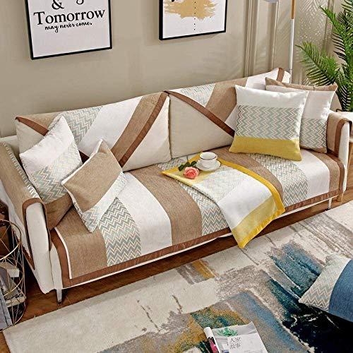 JXJ Cojín de Chenilla a Rayas para sofá, nórdico, Simple, Triple seccional, Fundas para sofá, Protector de Muebles, a Prueba de Mascotas para sofá de Dos plazas, sillón reclinable y Silla, marró