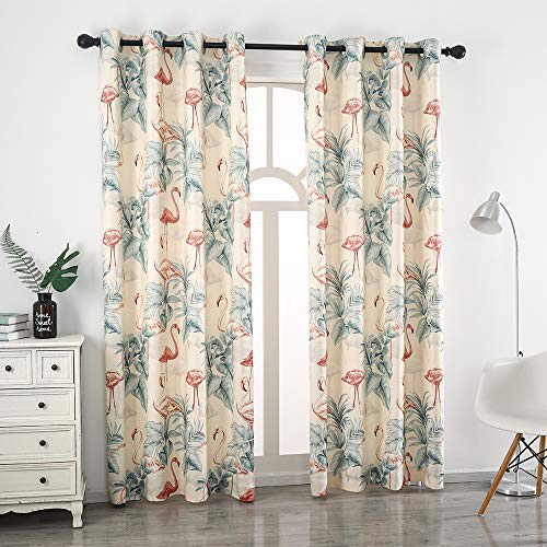 Autumn Dream Leaves Flamingo White Blackout Curtains, Grommet Top Microfiber Pastoral Floral Curtains Drapes for Living Room,Farmhouse,Bedroom,52by84 inch
