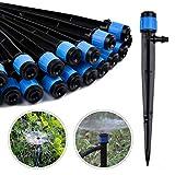 Kalolary 100pcs Aspersor de Riego 360 Grados Aspersor de Riego Ajustable para Tubo de 1/4 (4-7 mm), Herramienta de Riego de Jardín Gotero de Flujo Ajustable para Jardín, Azul