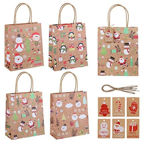 Naler 24-teilig Geschenktüten Papiertüten mit Henkel und Geschenkanhänger Kärtchen für Weihnachten Fest