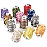 Simthread Multi-Farben Polyester Maschinen Stickgarn - 1,000 Meters, für Brother, Babylock, Bernette, Janome, Kenmore, Singer, W6 N 5000 Stickmaschine und Nähmaschine (12 Faben - TR)