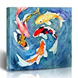 FUEWU Canvas Prints Watercolor Koi Painting Carp Goldfish Novel Swimming Animals Fish Water Wildlife Oriental Parks Blue Outdoor Wall Art 12x12 Inches Decorative Painting Artwork HOME Living Room Dorm
